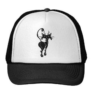 cats009 ARROGANT BLACK CAT WALKING HAUGHTY CARTOON Trucker Hat