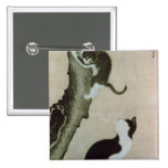 Cats, 17th century (ink on silk) 2 inch square button
