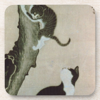 Cats, 17th century (ink on silk) drink coaster