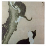 Cats, 17th century (ink on silk) large square tile
