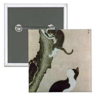 Cats, 17th century (ink on silk) pinback button