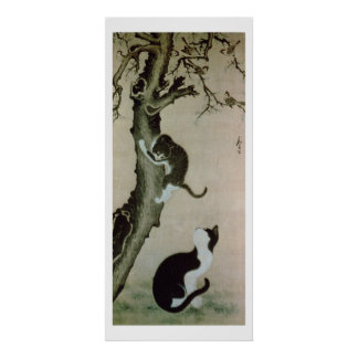 Cats, 17th century (ink on silk) poster