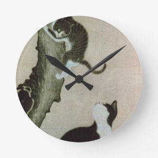 Cats, 17th century (ink on silk) round clock