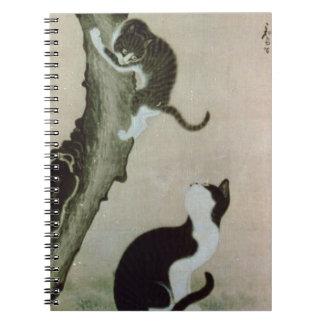 Cats, 17th century (ink on silk) spiral notebook