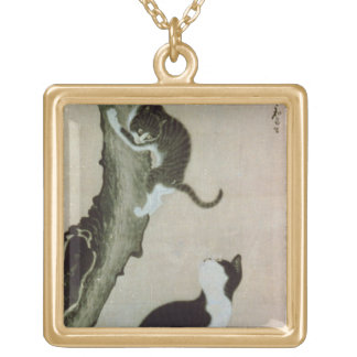 Cats, 17th century (ink on silk) square pendant necklace