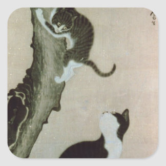 Cats, 17th century (ink on silk) square sticker