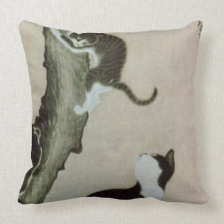 Cats, 17th century (ink on silk) throw pillow