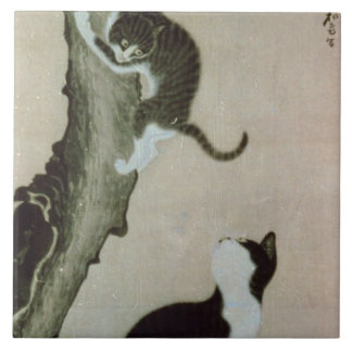Cats, 17th century (ink on silk) tile