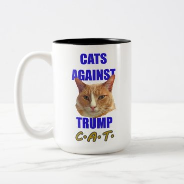 Coffee Themed Cats Against Trump C.A.T. Two-Tone Coffee Mug