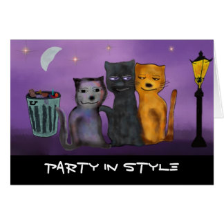 Cats All Nighter Birthday Card