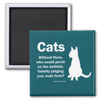 Cats and bathtubs 2 inch square magnet