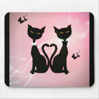 Cats and Butterflies Canvas Art Mouse Pad