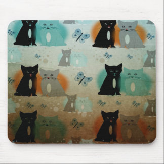 cats and butterflies mouse pad