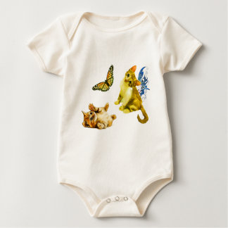 CATS AND BUTTERFLY BABY BODYSUIT