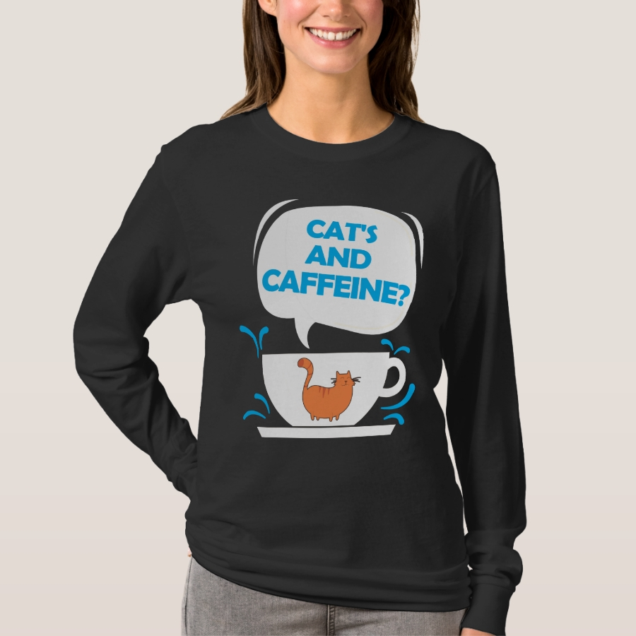 Cat's And Caffeine Coffee Pet Lover T-Shirt - Best Selling Long-Sleeve Street Fashion Shirt Designs