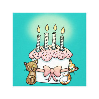 Cats and cake Birthday Canvas Print