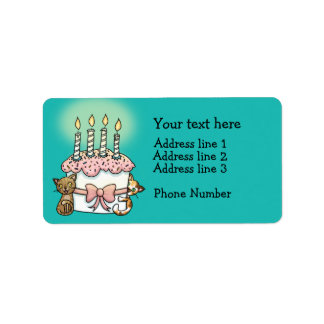 Cats and cake Birthday Label