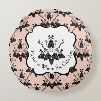 Cats and Catnip Damask Look Pattern Round Pillow