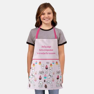 Cats and Cupcakes is a Recipe For Success Girls Apron