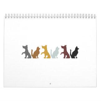 Cats and Dogs cartoon pattern Wall Calendar