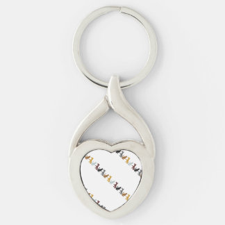Cats and Dogs cartoon pattern Keychain