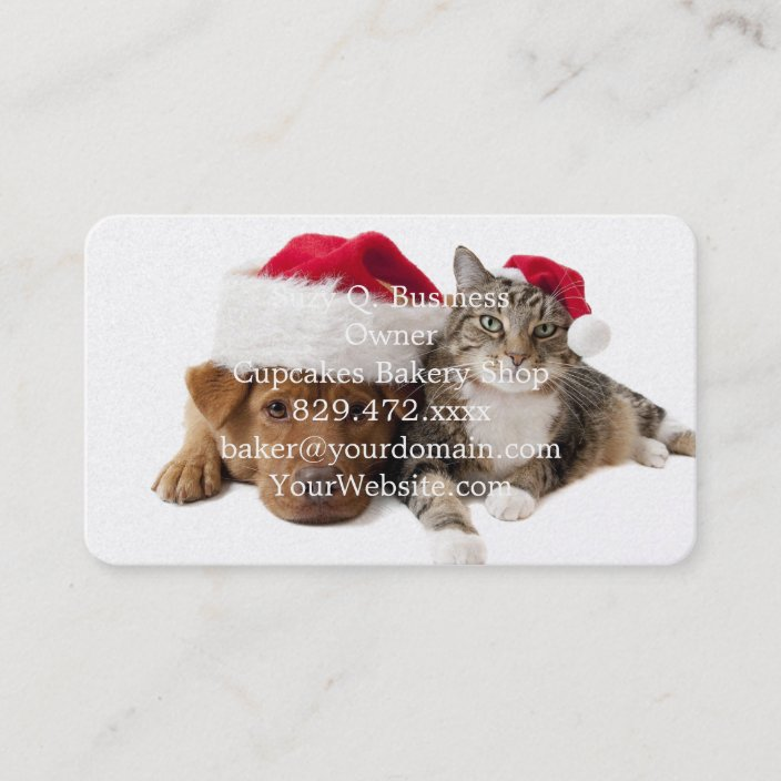 Cats And Dogs Christmas Cat Christmas Dog Business Card Zazzle Com