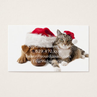 Cats and dogs - Christmas cat - christmas dog Business Card
