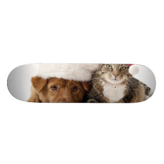 Cats and dogs - Christmas cat - christmas dog Skateboard