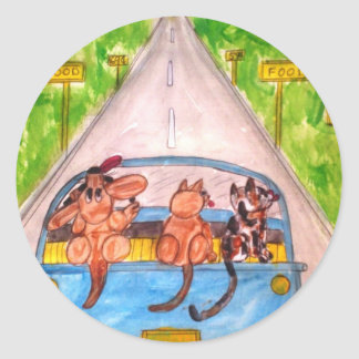 Cats And Dogs Classic Round Sticker