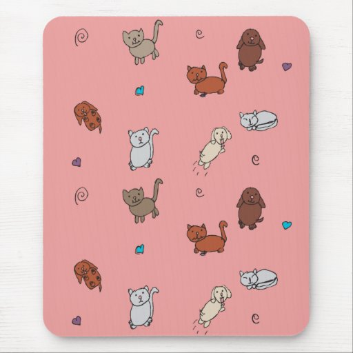 Cats and Dogs Drawing Mousepad