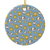 Cats and Dogs Emoji Pattern Ceramic Ornament