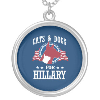 CATS AND DOGS FOR HILLARY ROUND PENDANT NECKLACE