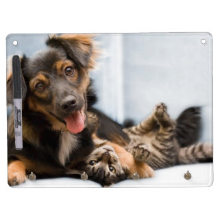 Cats and dogs - funny dog - Funny cats Dry Erase Board With Keychain Holder