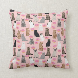 Cats and donuts pillow cat lady decor