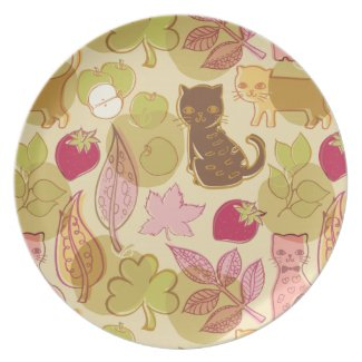 Cats and fruit party plates