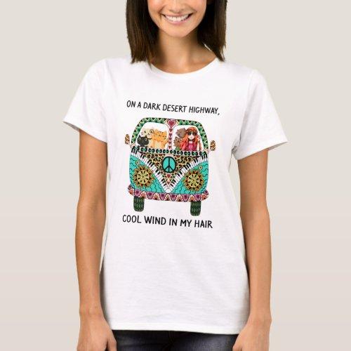 Cats And Girl Hippie On A Dark Desert Highway Cool T_Shirt