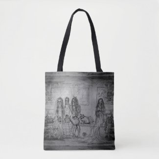 Cats and Girls Subway Characters on Tote Bag