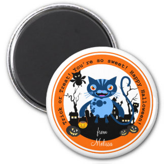 Cats and Halloween night 2 Inch Round Magnet