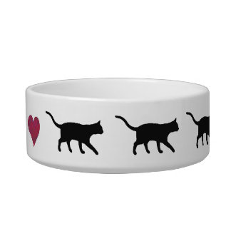 Cats and heart cat water bowl