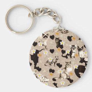 Cats and Hearts Basic Round Button Keychain