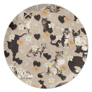 Cats and Hearts Plates