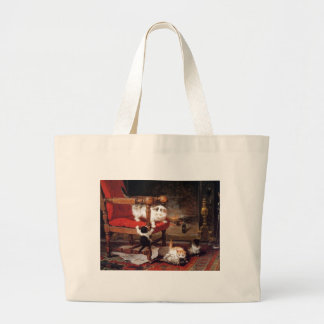 Cats and Kittens by a Fireplace Artwork Large Tote Bag