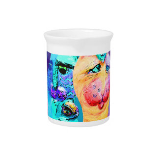 Cats and Mice Colorful Cat Design Beverage Pitchers
