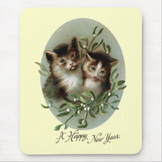 Cats and Mistletoe Vintage New Year Mouse Pad