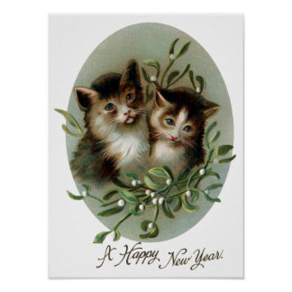 Cats and Mistletoe Vintage New Year Poster