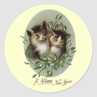 Cats and Mistletoe Vintage New Year Round Sticker