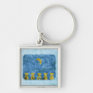Cats and Moon square keychain