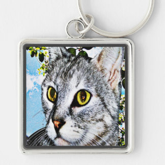 "Cats and Nature ""In Full Bloom"" Digital Art Keychains"