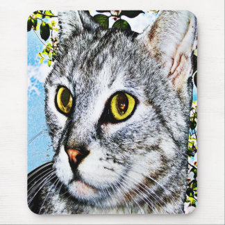 """Cats and Nature """"In Full Bloom"""" Digital Art Mouse Pad"""
