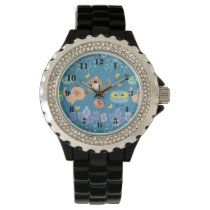 Cats and owls patterns wristwatch